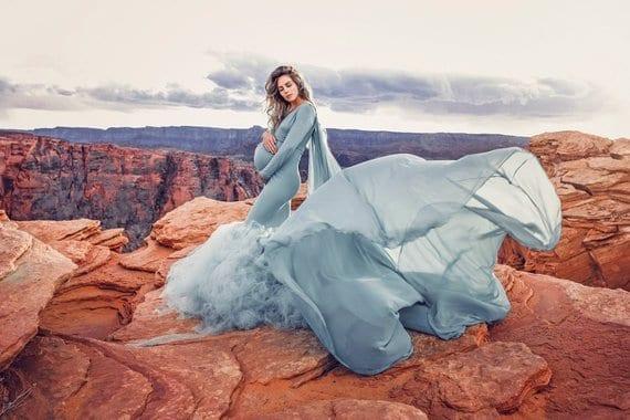 Lina Tutu Mermaid Long Sleeve Maternity Photoshoot Gown J L Designs Boutique